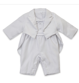 Aurora Royal Aurora Royal Satin Tuxedo Baptism Romper