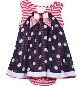 Bonnie Jean Bonnie Jean Navy Blue Polka Dot & Red Stripe Romper Dress