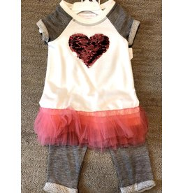 Bonnie Jean Bonnie Jean Pink Sequin Heart Gray Sweats 2pc Set