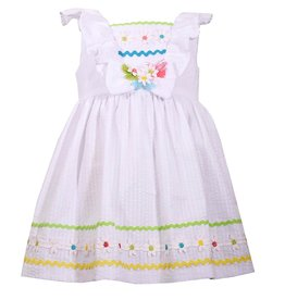 Bonnie Jean Bonnie Jean White Rickrack Seersucker Dress