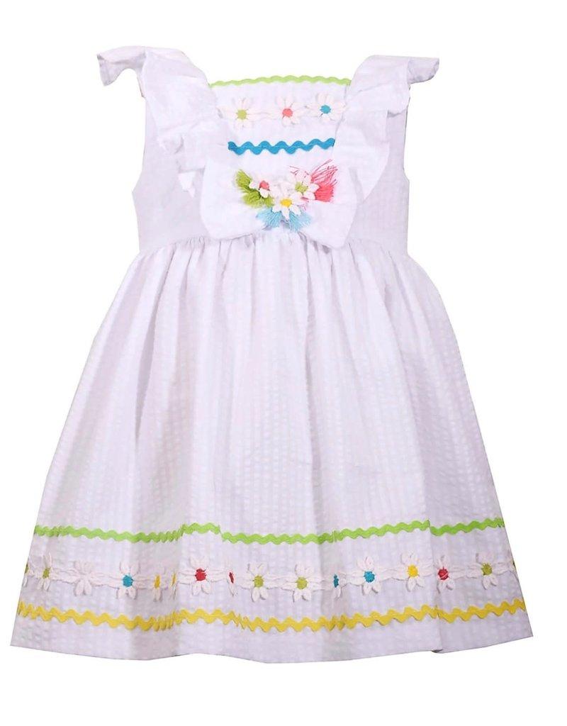 Bonnie Jean Bonnie Jean White Rickrack Seersucker Dress