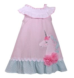 Bonnie Jean Bonnie Jean Pink Seersucker Unicorn Dress