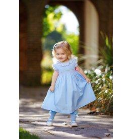 "Aurora Royal Aurora Royal Blue Hand Smocked ""Fleur De Lis "" Hand Embroidered Dress"