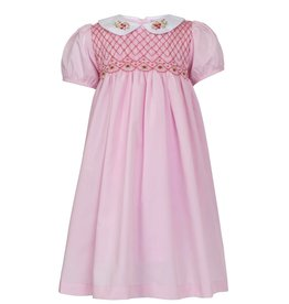 "Aurora Royal Aurora Royal Pink Hand Smocked ""Saskia"" Hand Embroidered Dress"