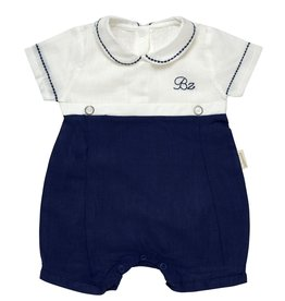 "Aurora Royal Aurora Royal Boy's ""Donald"" Cotton/Linen Navy & Cream Shortie"