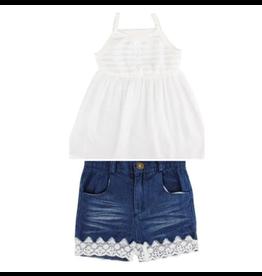 Denim Shorts w/Lace Trim & White Baby Doll Top Set
