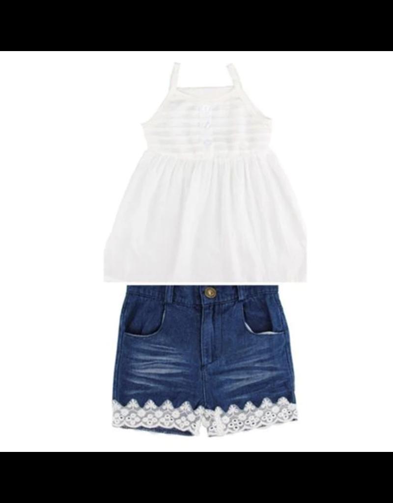 Denim Shorts Wlace Trim White Baby Doll Top Set