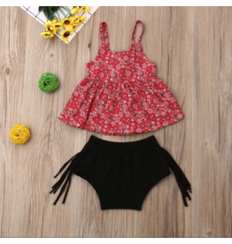 Red Paisley Top w/Black Fringe Bloomers