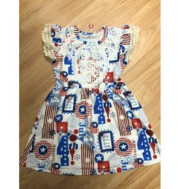 American Print 4th of July Dress