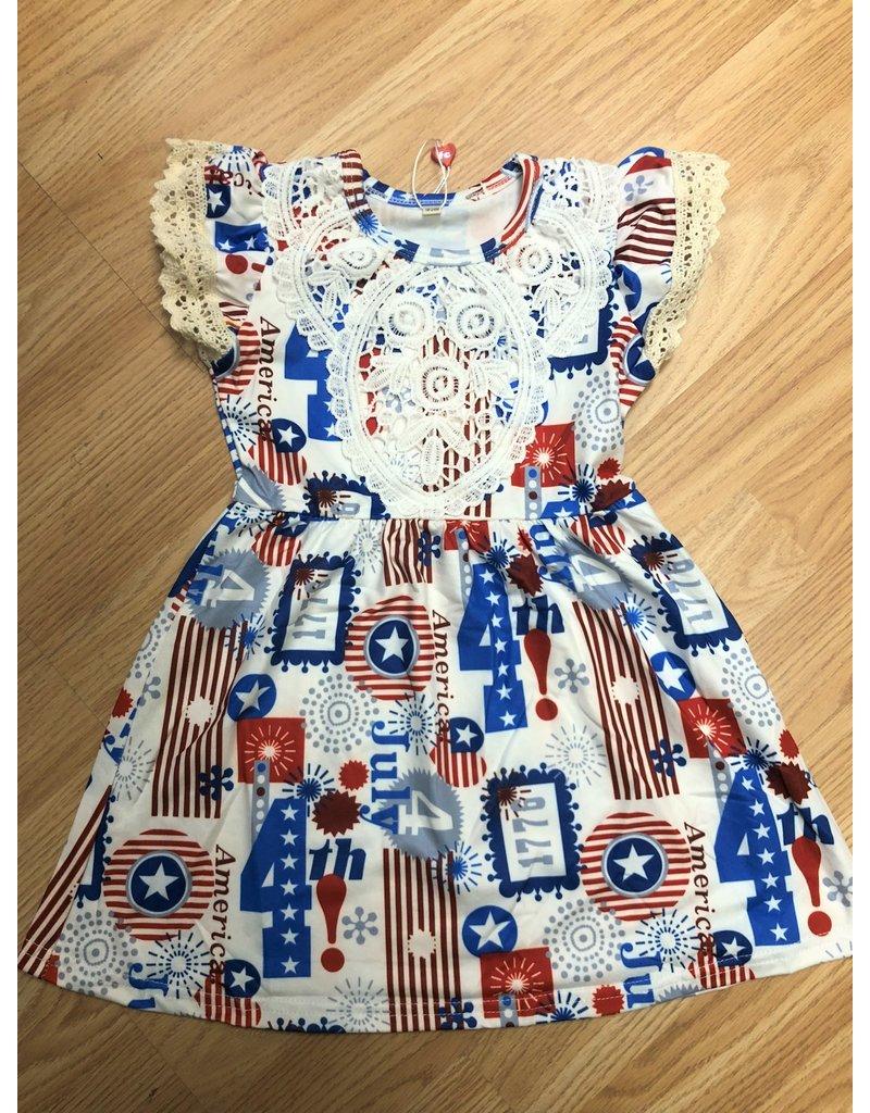 American Print 4th of July Dress