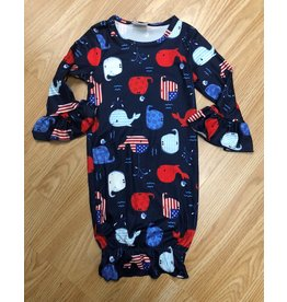 Whale 4th of July Baby Gown