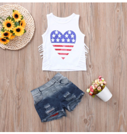 4th of July Heart Tank w/Fringe and Distressed Shorts Set