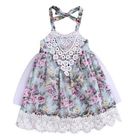 Floral Dress w/Lace Trim & Net Overlay