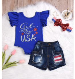 God Bless the USA Onesie and Distresses Shorts Set