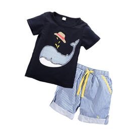 Boy's Whale Short Set w/Striped Shorts