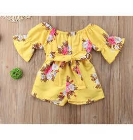 Yellow Floral Flare Sleeve Belted Short Romper