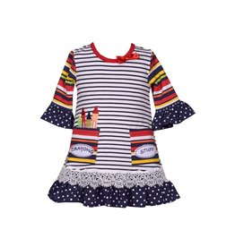 Bonnie Jean Crayons Stuff Striped School Dress