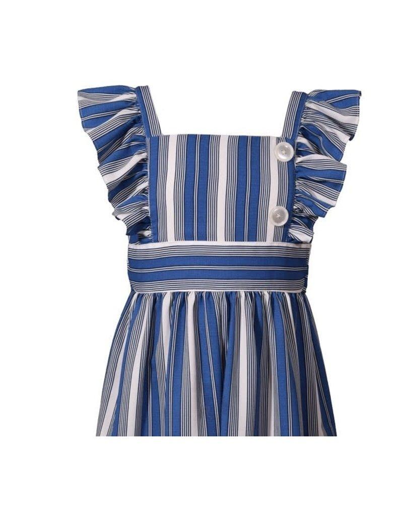 Bonnie Jean Blue Stripe Jumpsuit w/Ruffled Flutter Sleeve