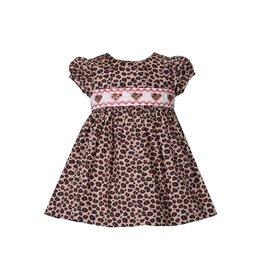 Bonnie Jean Cheetah Print Smocked Dress