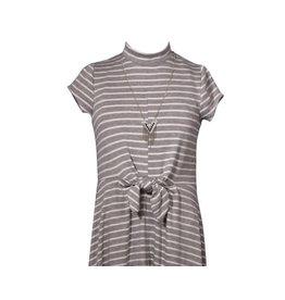 Bonnie Jean Gray Stripe Tie Front Maxi Dress