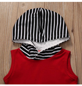 Boy's Burgundy Hooded Shirt w/ Striped Shorts