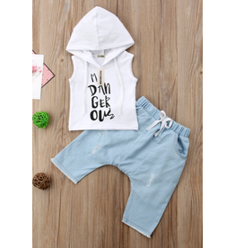 Boy's I'm Dangerous Denim Short Set w/Hooded Shirt