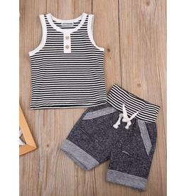 Boy's Gray Striped Short Set