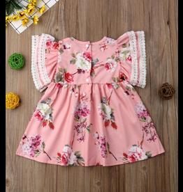 Pink Floral Flutter Sleeve Dress