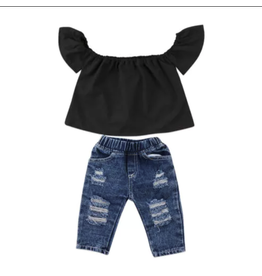 Distressed Denim Pants w/Black Off Shoulder Top