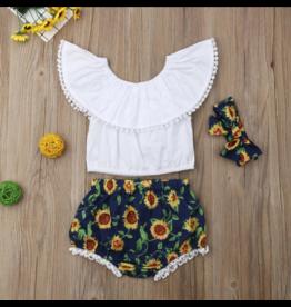 Sunflower Bummies with White Crop Flutter Top & Headband