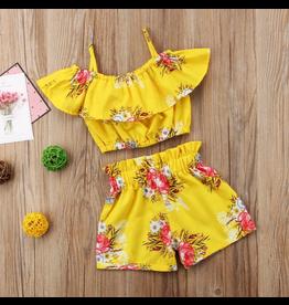 Yellow Floral Off Shoulder Short Set
