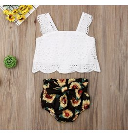 Sunflower Bow Knot Shorts with Eyelet Sleeveless Top