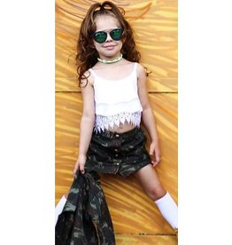 Camo Skirt w/Lace Hem Sleeveless Top