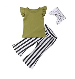 Black Stripe Flare Pants w/Olive Top and Headband