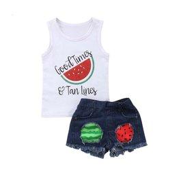 Good Times & Tan Lines Watermelon Short Set