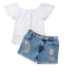 Flower Lace Top w/Distressed Shorts Set