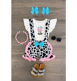 Pink/Blue Cow Suspender Short Set