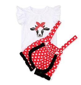 Bandana Cow Suspender Short Set