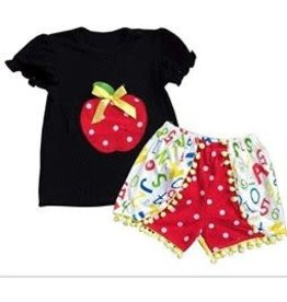 Apple Shirt w/Alphabet Shorts Set