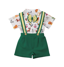 Boy's Animal Shirt Suspender Short Set