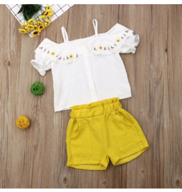 Yellow Shorts w/White Off Shoulder Embroidered Top