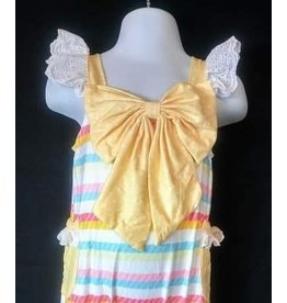 Yellow Striped Romper w/Front Bow
