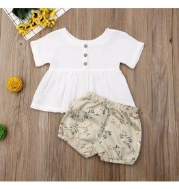 Cotton Button Front Top w/Tan Floral Bloomers