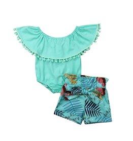 Green PomPom Flutter Onesie w/Tropical Shorts