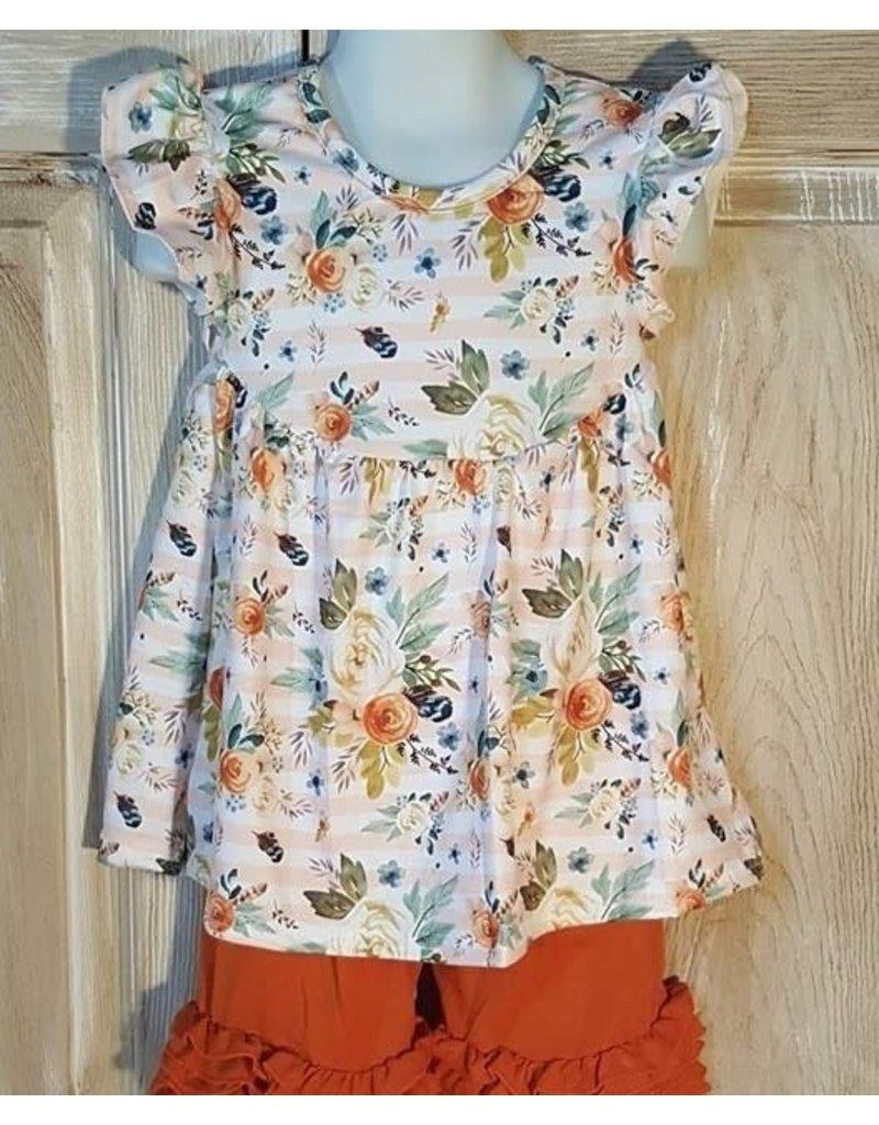 Orange Floral Striped Pearl Tunic Short Set