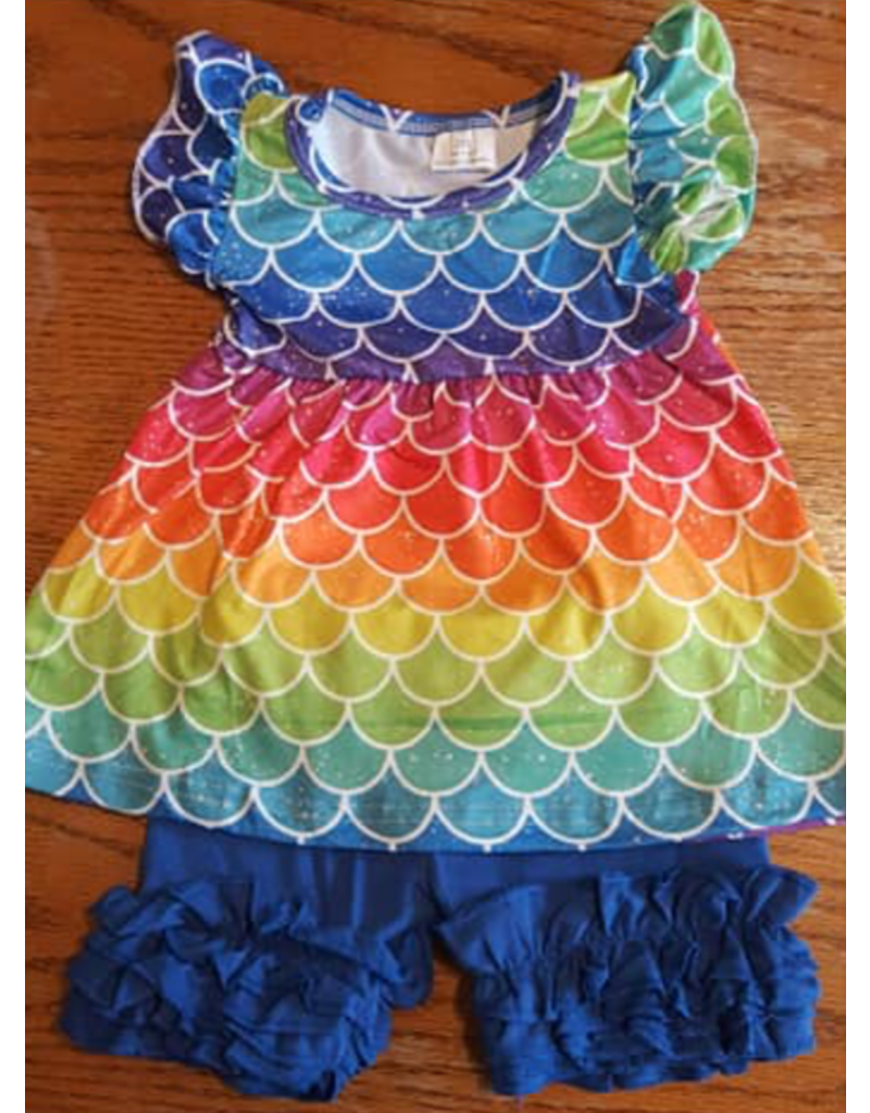 Rainbow Mermaid Pearl Tunic Short Set