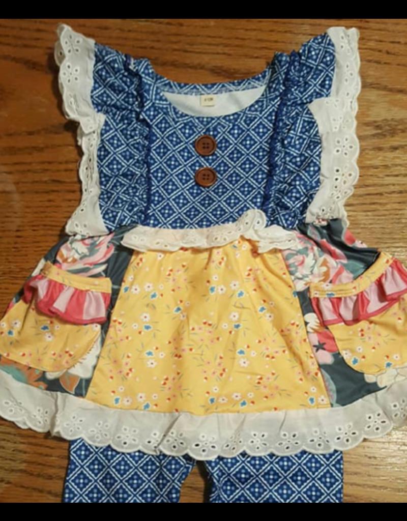Blue w/Yellow Floral & Eyelet Lace Trim Pant Set