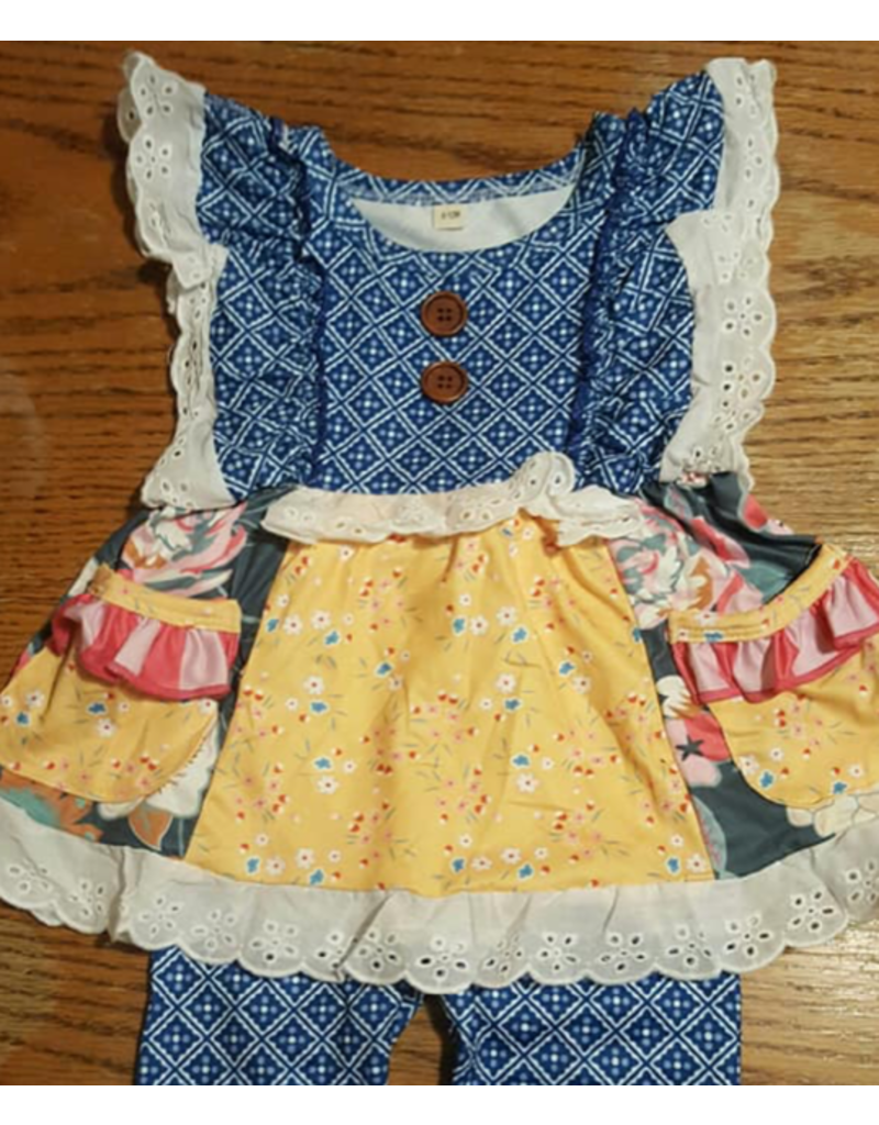Blue w/Yellow Floral & Eyelet Lace Trim Pant Set