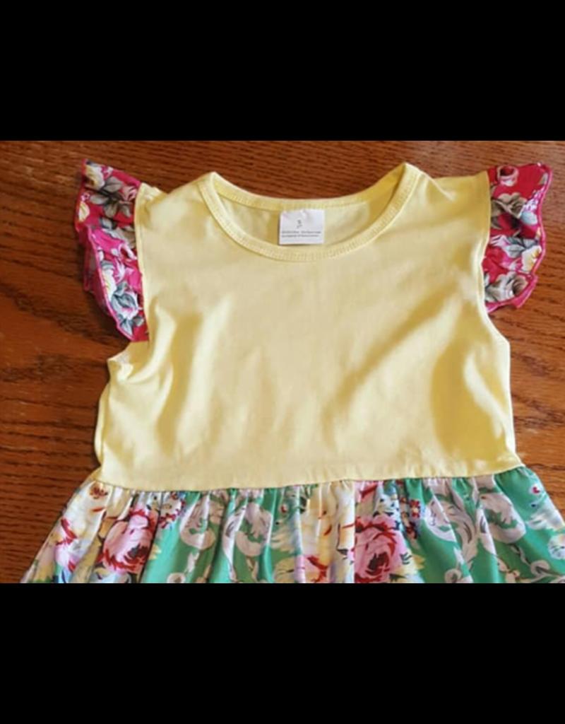Green & Yellow Floral Dress w/Pink Flutter Sleeve