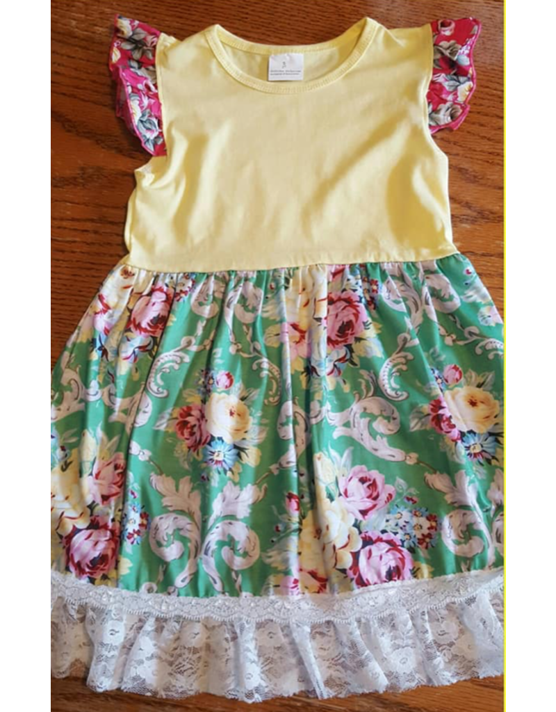Green & Yellow Floral Dress w/Pink Flutter Sleeve